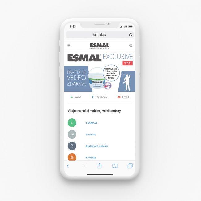 mobilná verzia webu esmal.sk
